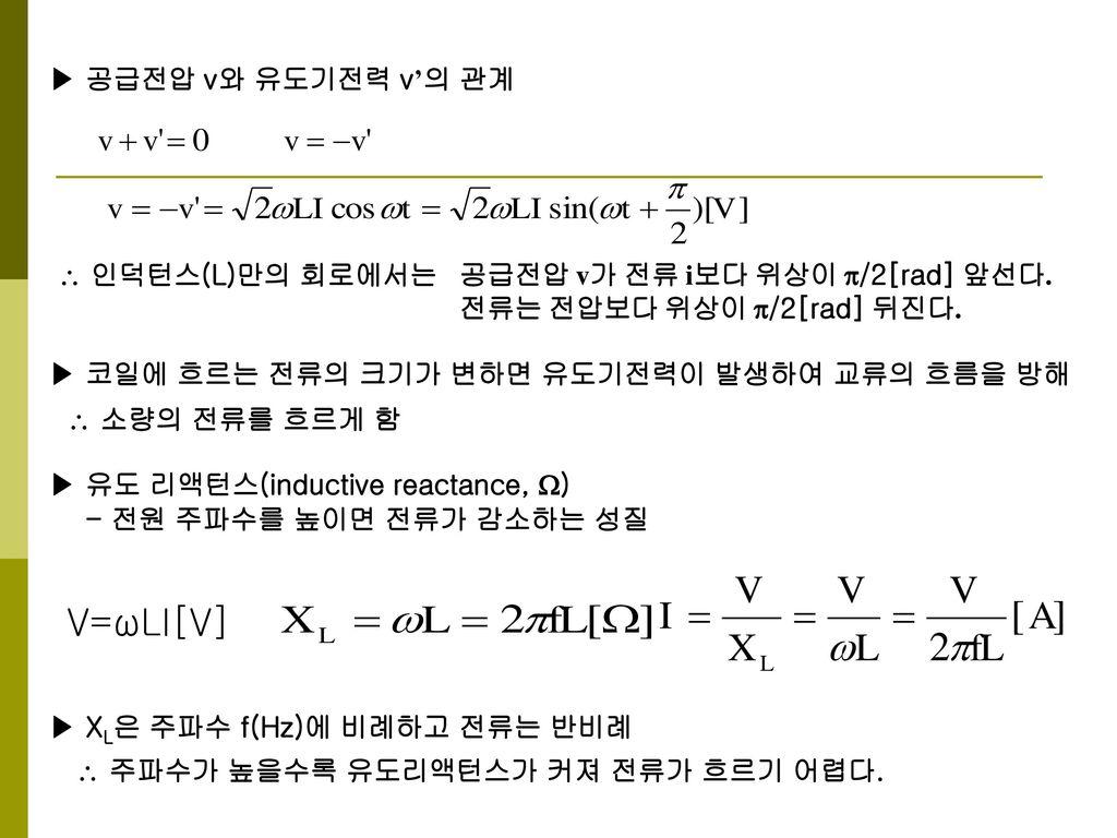 V=ωLI[V] ▶ 공급전압 v와 유도기전력 v'의 관계  인덕턴스(L)만의 회로에서는